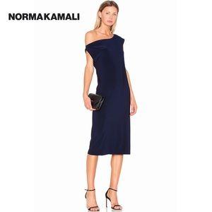 NORMA KAMALI Blue Off The Shoulder Drop Dress